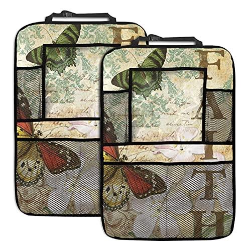 mengmeng Faith and Butterflies - Organizador de asiento trasero para coche, 2 unidades, varios bolsillos, organizador de asiento de coche para iPad