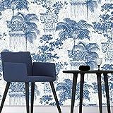 Papel Pintado Wallpaper No autoadhesiva Papel pintado clásico chino de porcelana azul y blanca Columna romana no tejidos del fondo de pantalla adecuados for la pared del dormitorio del fondo de estar