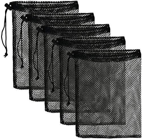 Durable Nylon Mesh Drawstring Bag 5 PSC - Mesh Ditty Bag for Equipment Storage Nylon Travel Bag with Drawstring Cord Lock Closure Net Bag for Toys ,Balls, Laundry bag (5 PCS)