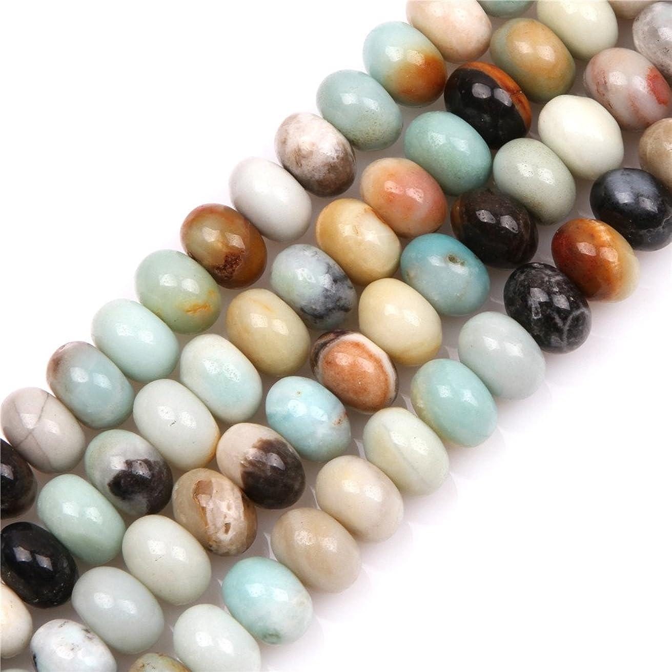JOE FOREMAN 8x12mm Amazonite Semi Precious Gemstone Rondelle Loose Beads for Jewelry Making DIY Handmade Craft Supplies 15
