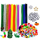 Caydo 600 Pieces Pipe Cleaners Pompoms Set, Including 120 Pieces 12 Colors Pipe Cleaners, 360 Pieces 6 Size...