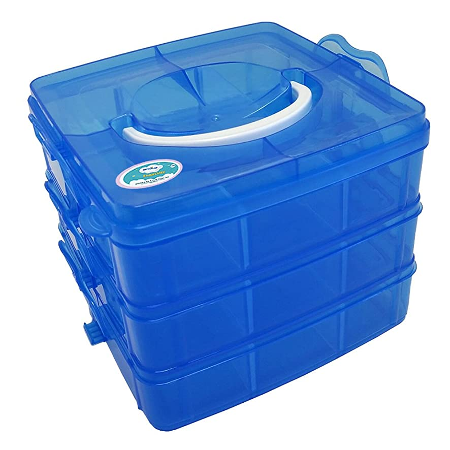 EnviUs SnapCube - Snap & Stackable Storage Case for Rainbow Loom + Arts & Crafts (Mini, Blue)