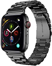 Supoix 42mm/44mm XL Large Bands Compatible with Apple Watch Series 6 5 4 SE 44mm/Series 3 2 1 42mm,Stainless Steel Metal Link Replacement Wristbands Strap for Men-Space Black