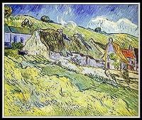 数字油絵 フレーム付き 、数字キット塗り絵 手塗り DIY絵 - デジタル油絵 家の装飾のギフト 容易に - A Group of Cottages by Vincent Van Gogh