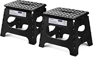 "Acko Folding Step Stool Lightweight Plastic Step Stool - 11"" Height - 2 Pack - Foldable Step Stool for Kids and Adults,Non Slip Folding Stools for Kitchen Bathroom Bedroom (Black, 2 Pack)"