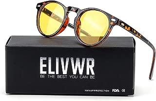 ELVIWR Round Retro Sunglasses for Men and Women Steam Punk Metal Frame