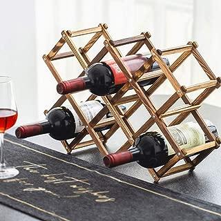 Foldable Wood Wine Rack Holder Storage Display Table Free Standing Rustic Wooden Racks Countertop Decor Organizer - Carbonized Wood, 10 Slot