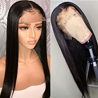 BEEOS 9A 360 Lace Frontal Straight Wig with Baby Hair,Pre Plucked and Bleached Knots,Natural Black Brazilian Virgin Remy Human Hair Wigs (16 Inch)