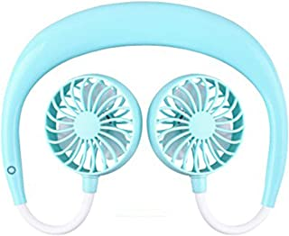 SHANGRUIYUAN-Mini Fan Multifunction 1PCS Portable Fans Hand Free Neckband Fans with USB Rechargeable 1200mA Battery Operated Dual Wind Head 3 Speed Fan (Color : Blue)