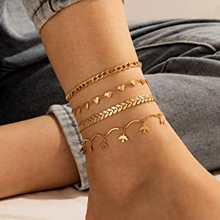 YERTTER Set of 4 Boho Gold Chain Anklet Bird Heart Anklet Barefoot Sandals Ankle Bracelet Beach Wedding Foot Chain Jewelry...