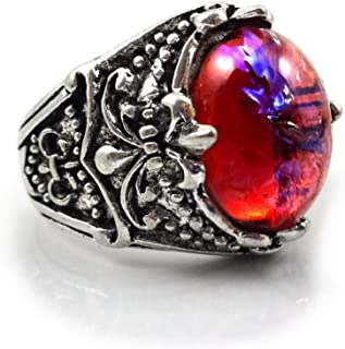Little Gem Girl Mexican Opal Ring Glass Dragons Breath Red Blue in Antique Silver Finish with 10x14mm Stone