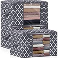 WISELIFE Storage Bags 100L 3-Pack Large Blanket Clothes Organization and Storage Containers for Bedding, Comforters, Foldable Organizer with Reinforced Handle, Clear Window, Sturdy Zippers,Grey