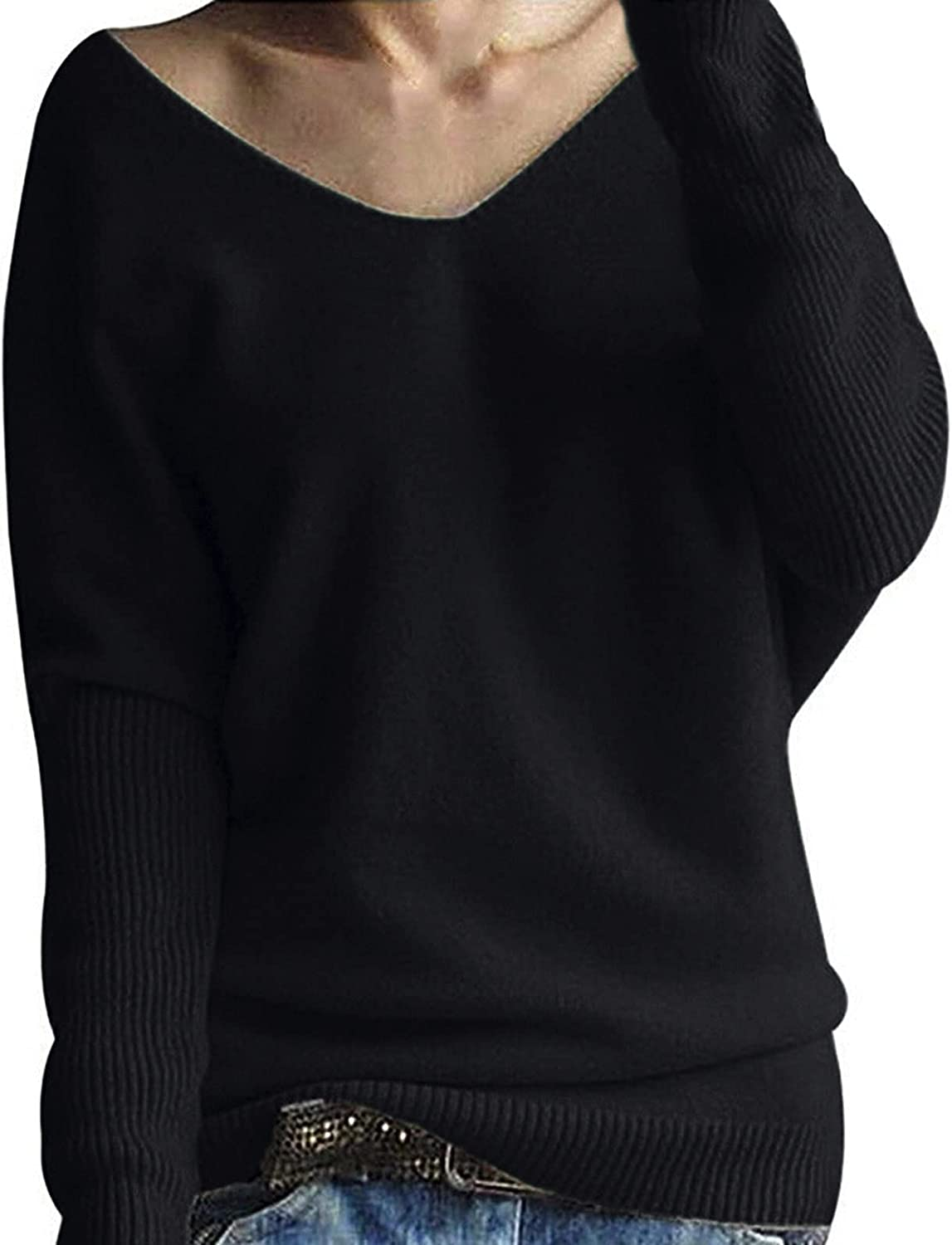 Womens Batwing Knitted Sweaters Long Sleeve Winter Tunic Pullover Jumper Tops