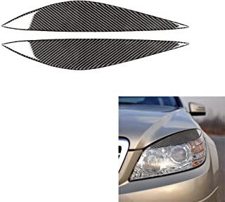 Carrfan Carbon Fiber Car Headlight Eyebrow Eyelid Trim, Headlamp Eyebrow Stickers for Mercedes Benz W204 Pre-Facelift (2008-2011)