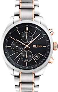 hugo boss Grand Prix Men's Black Dial Stainless Steel Band Watch - 1513473