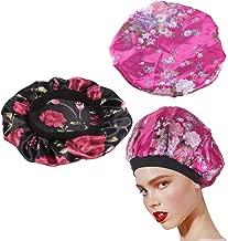 Nahuaa Schlaf Mütze Damen Seide Schlafmütze Duschhaube Satin Nachtmütze Kopfbedeckung mit klassischer für Damen Mädchen Schlafen Badezimmer Haarpflege(Rosenrot, Schwarz)