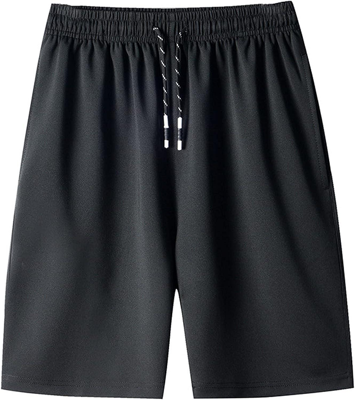 ZCAITIANYA Men's Shorts Casual Solid Color Fitness Training Jogging Drawstring Fit Summer Elastic Waist with Zipper Pocket