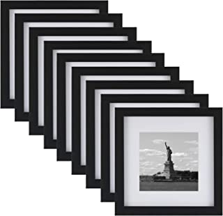 ONE WALL Tempered Glass 8x8 Picture Frame with Mats for 5x5, 4x4 Photo, Black Wood Frame for Wall and Tabletop - Mounting Hardware Included