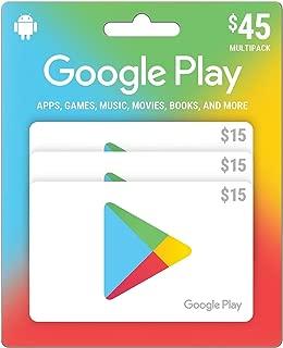 Google Play $45 Prepaid Gift Card - 3 x $15 (Physical Card)