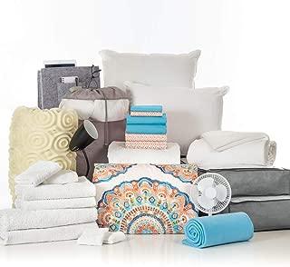 OCM 27 Piece Varsity Collection Catalina Coral Aqua Twin XL College Dorm Bedding and Bath Set