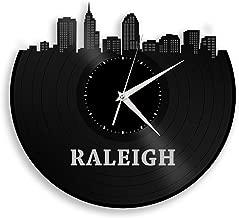 VinylShopUS - Raleigh North Carolina Vinyl Wall Clock City Skyline Travel Gift