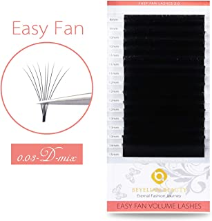 BEYELIAN Easy Fan Eyelash Extensions Full Mega Volume Self Fanning Mink Lash Extensions Stylists Use .03mm Ultra Thin Lightweight up to 16D 20D D Curl Mixed Tray 8-15mm