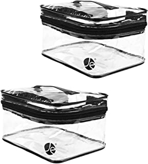 [2 PACK], JAVOedge Medium Train Clear PVC Vinyl Multipurpose Cosmetic Makeup Case Organizer with Top Handle