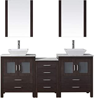 Virtu USA Dior 66 inch Double Sink Bathroom Vanity Set in Espresso w/Square Vessel Sink, Italian Carrara White Marble Countertop, Single Hole Polished Chrome, 2 Mirrors - KD-70066-WM-ES