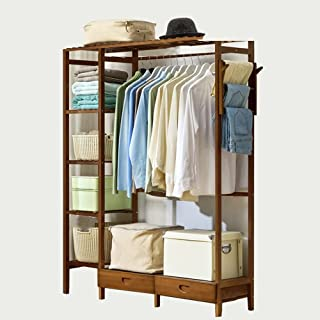 Yirunfa Portant Penderie à Vêtements en Bambou, 5 Niveaux avec 4 étagères de Rangement, Meuble D'entrée Porte-Manteaux pou...