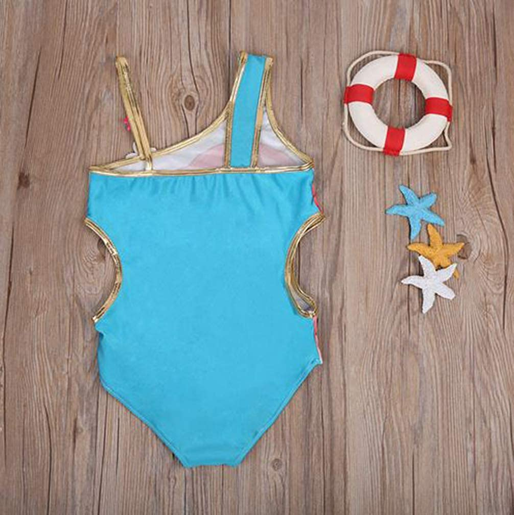 Toddler Girls Mermaid Swimsuit Cartoon Animation One-Shoulder Kids Girls Swimwear One Piece Bathing Suit