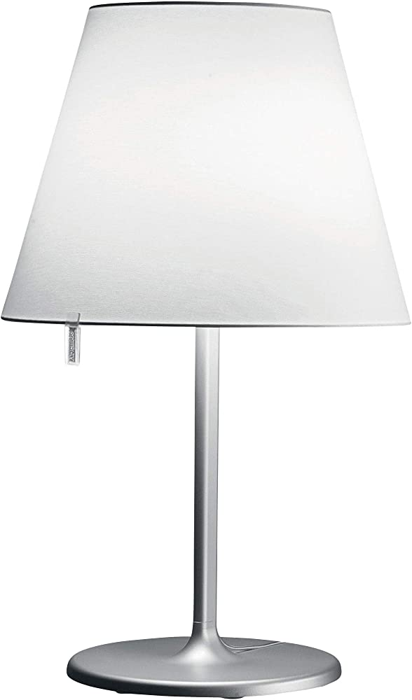 Artemide melampo, lampada da tavolo,in lega di zamak e alluminio,paralume in raso di seta 0315010A