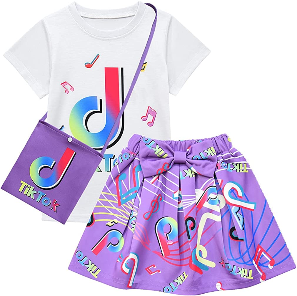 D.O.T 3pcs TikTok Girl Skirt Sets T Shirt Top + Bowknot Skirt with Bag Outfits