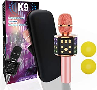 Wireless Bluetooth Karaoke Microphone Bluetooth 5.0 with Dual Sing, LED Lights, Portable Handheld Mic Speaker Machine for iPhone/Android/PC/Outdoor/Birthday/Home/Party (Rose Gold)