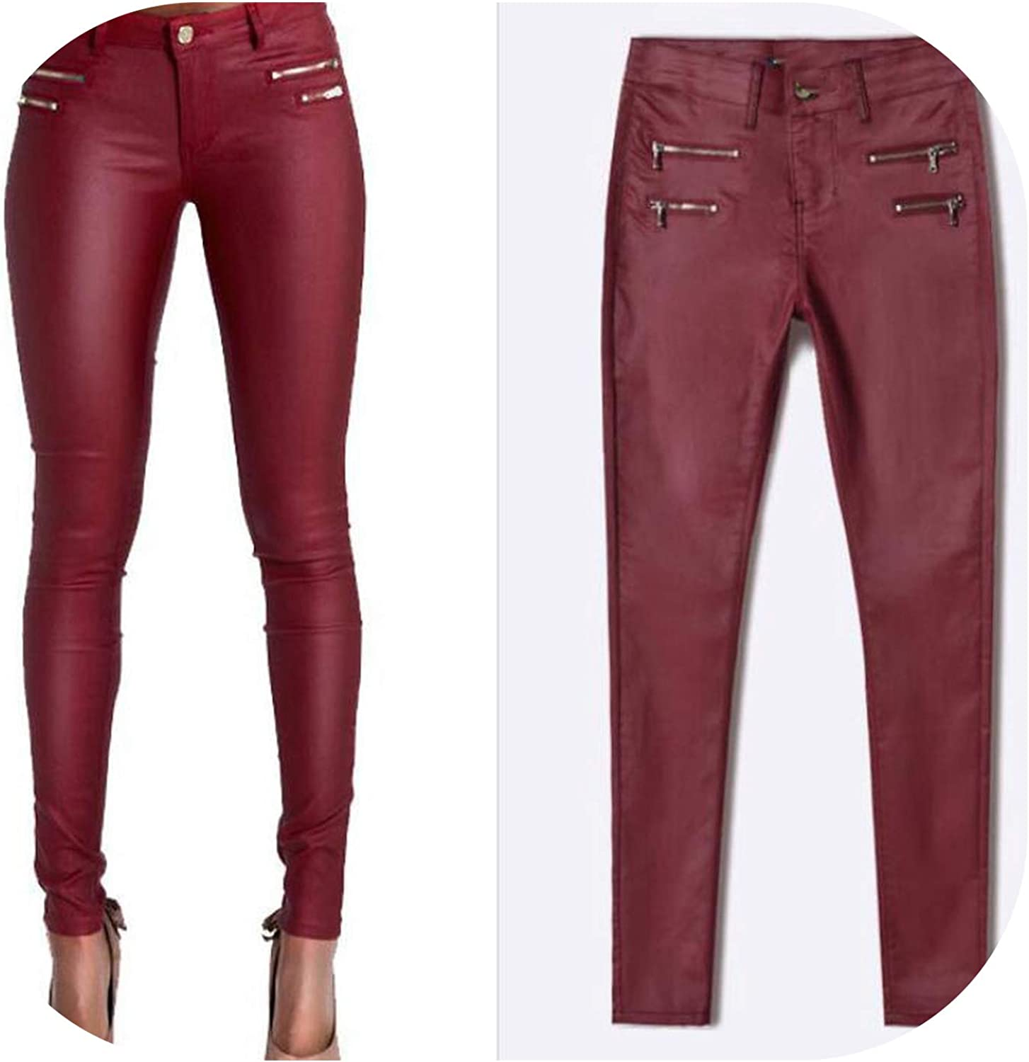 Faux Leather Pants Women Elastic Zipper Leather Pants Trousers Leren Broeken,