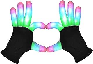 POPCHOSE LED Light Up Gloves Finger Light Gloves 3 Colors 6 Modes LED Gloves for Christmas Xmas Halloween Costume Dance Dubstep Birthday Party