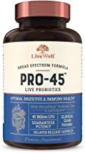 PRO45: #1 Clinical Grade Probiotic Formula, 45 Billion CFU, 11 Patented strains. Dairy Free. Delayed Release Veggie caps. ...