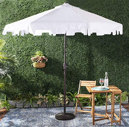 Safavieh PAT8000K Outdoor Collection Zimmerman White Uv Resistant 9 Ft Crank Market Push Button Tilt Flap Umbrella