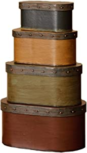 Your Heart's Delight Decorative Band Nesting Boxes, 8-1/2 by 4 by 4-3/4-Inch, Set of 4
