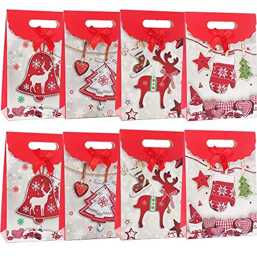 BESLIME Geschenkverpackung Taschen Geschenktaschen für Weihnachten Geschenkbeutel für Xmas Party Süßigkeiten Spielzeug Packung