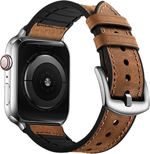 OUHENG Compatible with Apple Watch Band 44mm 42mm, Sweatproof Genuine Leather and Rubber Hybrid Band Strap Compatible...
