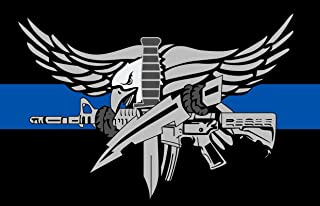 Evan Decals Thin Blue Line- Police Swat Thin Blue Line Window Decal Vinyl Sticker 3