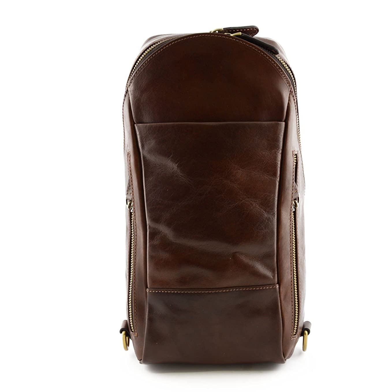 北へ欠伸操るMade In Italy Man Backpack In Genuine Leather With 2 Side Pockets Color Dark Brown - Backpack