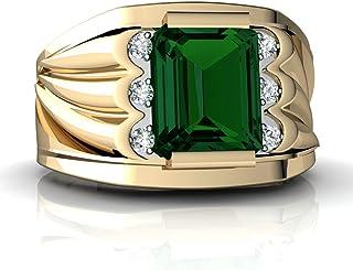 14kt Gold Lab Emerald and Diamond 9x7mm Emerald_Cut Men's Ring