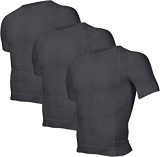Odoland 3 Pack Men's Body Shaper Slimming Shirt Tummy Vest Thermal Compression Base Layer Slim Muscle Short Sleeve Shapewear