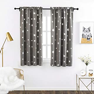 Anjee Boys Room Curtains 2 Panel with Foil Printed Star Pattern, Blackout Drapes Help Light Blocking, 38 x 45 Inch, Grey