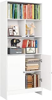 Homfa Estantería Libros Librería Pared Armario Almacenaje para Salón Dormitorio Estudio Oficina con 2 Puertas 4 Compartime...