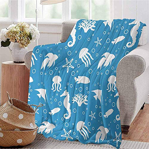 KFUTMD Throw Blanket Mix of Seahorses Pipefishes and Others Swimming Diving Deep Zone Summertime Turquoise White Couch Bed Napping Reading Recliner W59 xL71