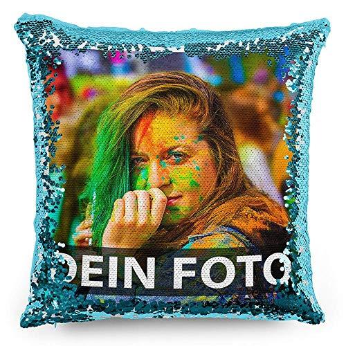 Tassendruck Foto-Kissen mit bedruckten blauen Wendepailletten Selbst gestalten (40 x 40 cm) - mit Foto individuell Bedruckt/Personalisierte Geschenk-Idee/Deko-Kissen inkl. Füllung