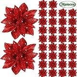Fleurs de Poinsettia de Noël Poinsettia Artificielle Paillette Ornements Décoratifs pour Arbres de Noël Accessoires Floraux pour Décorations de Noël Maison Porte (Rouge, 36)