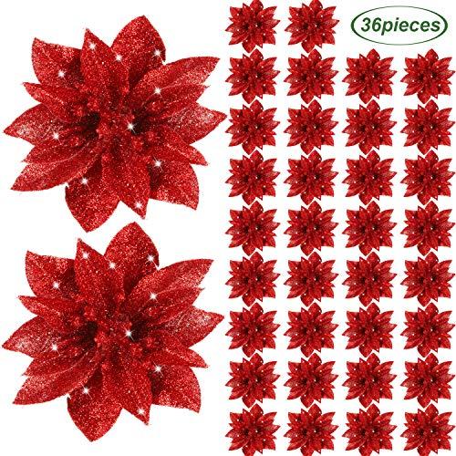 Gejoy Weihnachtsstern Blumen Künstliche Funkeln Weihnachtsstern Weihnachtsbaum Ornamente Dekorative Blumen Zubehör für Weihnachten Haus Haupteingang Tür Dekoration (Rot, 36)